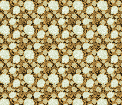 Rose Remix - caramel/sage/black fabric by cinneworthington on Spoonflower - custom fabric