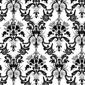 Space Damask - Cosmic Damask Black on White