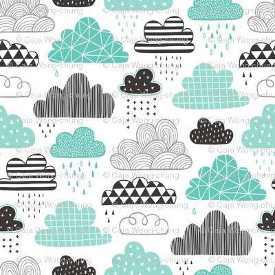Clouds Geometrical in the Sky Black white Grey in Mint Green