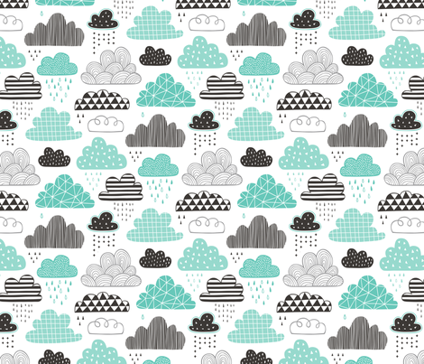 Clouds Geometrical in the Sky Black white Grey in Mint Green fabric by caja_design on Spoonflower - custom fabric