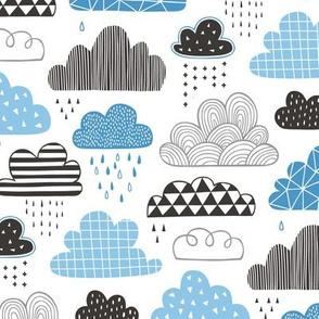 Clouds Geometrical in the Sky Black white Grey Blue