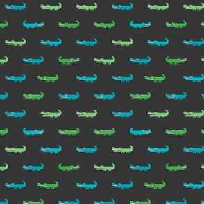 Cute crocodile jungle animal alligator kids animals illustration pattern design in green and blue dark XS