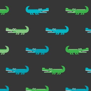 Cute crocodile jungle animal alligator kids animals illustration pattern design in green and blue dark Large