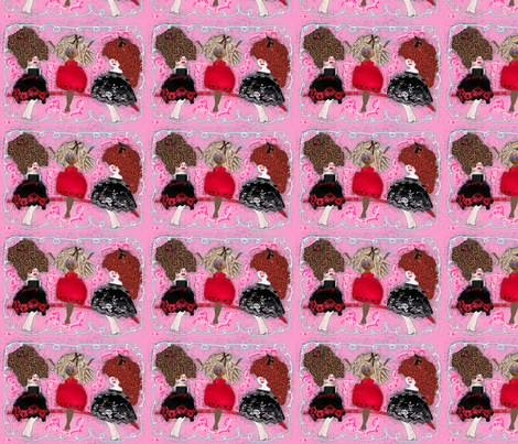 """""""Girlfriends""""__Black___White_Version__Two_white_one_Black_center fabric by cathycomora on Spoonflower - custom fabric"""