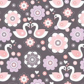 Lucky swan love and spring flower blossom retro pastel scandinavian design lilac pink