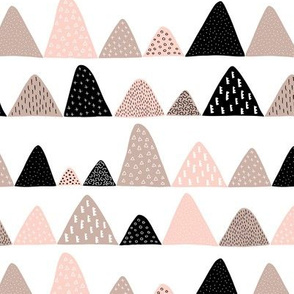 Abstract textured mountain range winter woodland abstract triangles scandinavian style fabric beige coral