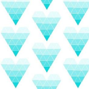 Aqua Ombre Geometric Hearts