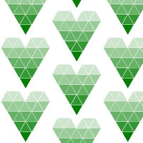 Green Ombre Geometric Hearts