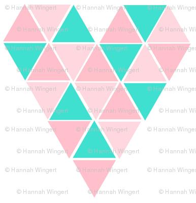 Pink & Turquoise Geometric Hearts