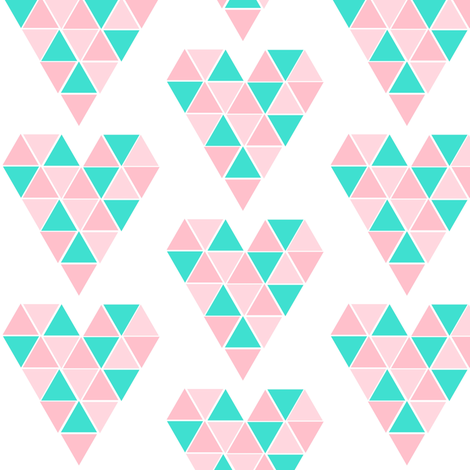 Pink & Turquoise Geometric Hearts fabric by sunshineandspoons on Spoonflower - custom fabric