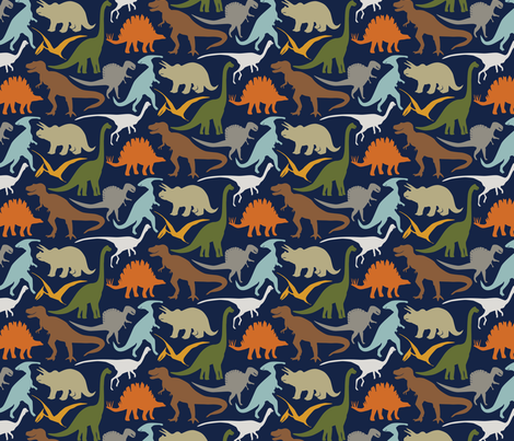 Little Dinosaur Friends - Colorful indigo fabric by jillbyers on Spoonflower - custom fabric
