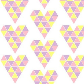 Pastel Geometric Hearts