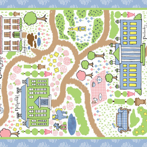 Jane Austen's Countryside playmat blanket map Pride and Prejudice