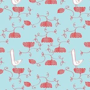 Checkered_Flowers _with birds_©Solvejg_J_Makaretz