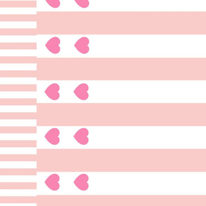 Pink Hearts and Stripes Border Print