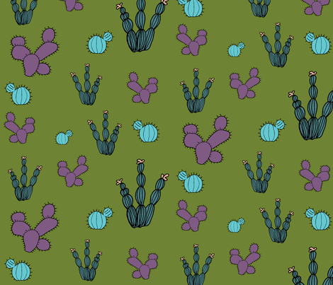 cacti_green_and_purple fabric by thepoonapple on Spoonflower - custom fabric