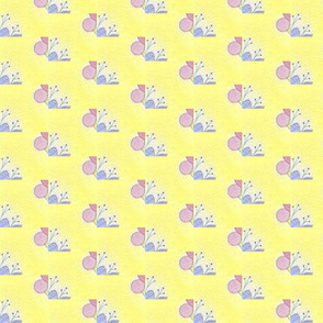 Periwinkle and Pink Abstract on Yellow