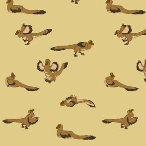 Playful raptors brown