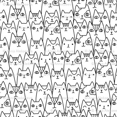 Doodle cats pattern MEDIUM scale