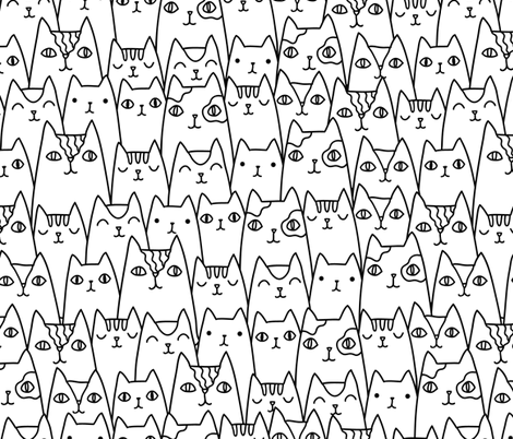 Doodle cats pattern MEDIUM scale fabric by kostolom3000 on Spoonflower - custom fabric