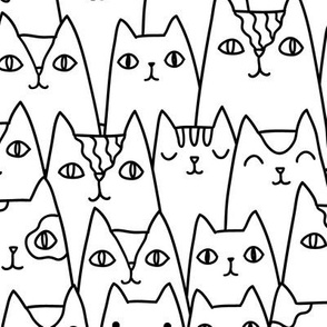 Doodle cats pattern MEDIUM scale