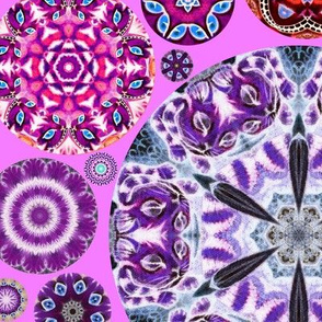 Cheshire Cats Kaleidoscope Circles Purrfect Pink INVERTED