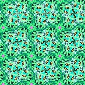Cheshire Cats Kaleidoscope Circles Pinwheel Pink