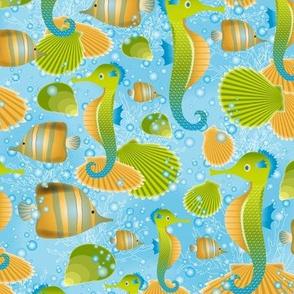 Seahorses (amber)