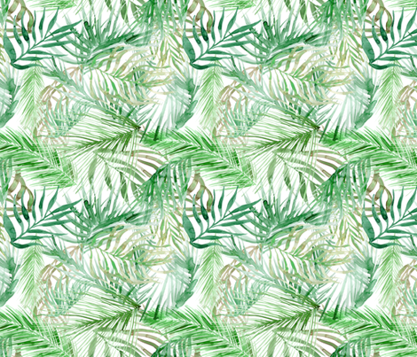 tropical watercolor palm leaves fabric by rebecca_reck_art on Spoonflower - custom fabric