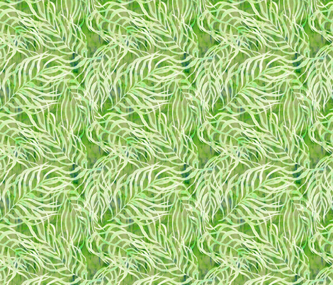 Lush green palm leaves fabric by rebecca_reck_art on Spoonflower - custom fabric