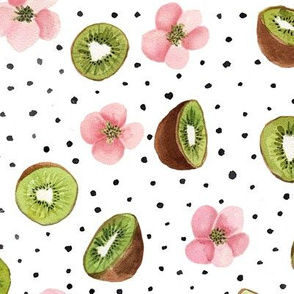 Kiwis, blush pink Flowers & Dots Watercolor