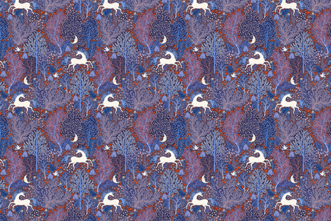 Unicorns in nocturnal forest fabric by rebecca_reck_art on Spoonflower - custom fabric