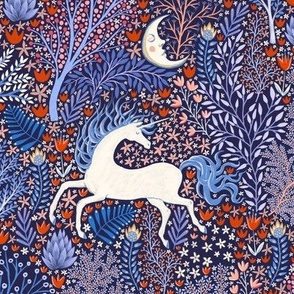 Unicorns in nocturnal forest