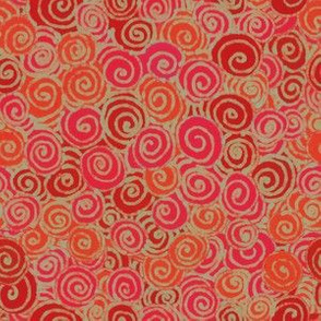 Pink Orange and Red Swirl