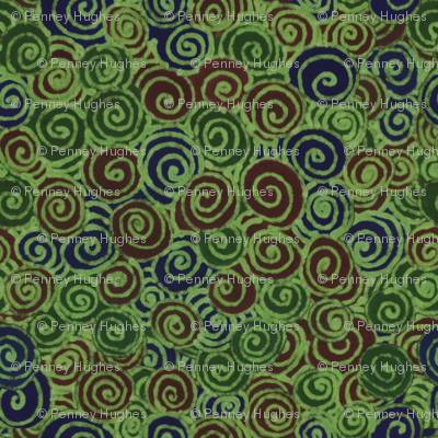 Green Brown Navy Swirl
