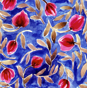 Nightblue watercolor tulips