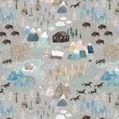 Woodland baby - illustrated map with horses, teepee, triangles, mountains and bear