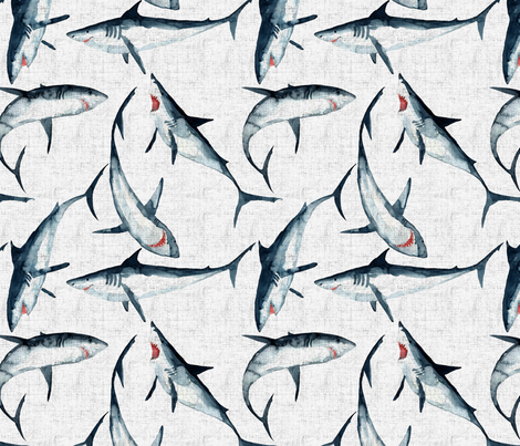 Great Whites are great on white ... fabric by rebecca_reck_art on Spoonflower - custom fabric