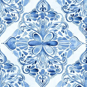 Vintage Blue and White Textured Watercolor Doodle