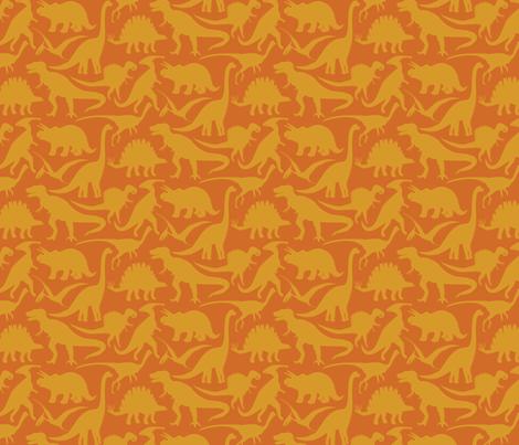 Little dinosaur Friends - golden fabric by jillbyers on Spoonflower - custom fabric