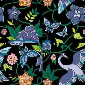 Asian Kimono Floral Bird