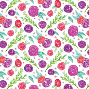 Red Purple Floral