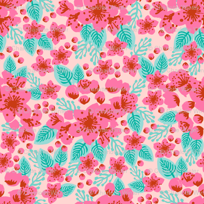 cherry blossoms pink blush girls sweet painted flowers florals vintage style floral wallpaper
