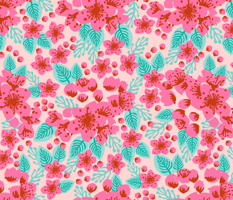 cherry blossoms pink blush girls sweet painted flowers florals vintage style floral wallpaper fabric by charlottewinter on Spoonflower - custom fabric