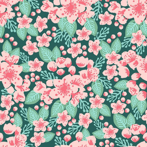 cherry blossom pink painted flowers florals spring pink and green japanese garden