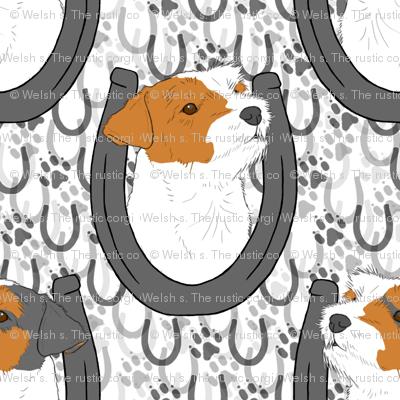 Jack Russell terrier horseshoe portraits