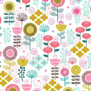 botanical flowers florals blooms flowers blossoms girls sweet pink mint mustard coral gold