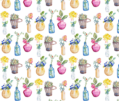 Tiny Flower Vases  by Jane LaFazio fabric by jane_lafazio on Spoonflower - custom fabric