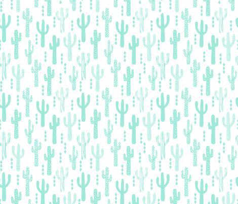 cactus mint southwest baby mint nursery summer fabric by charlottewinter on Spoonflower - custom fabric