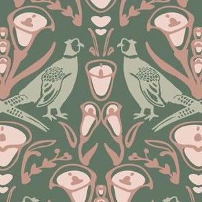 Damask pheasants in greens